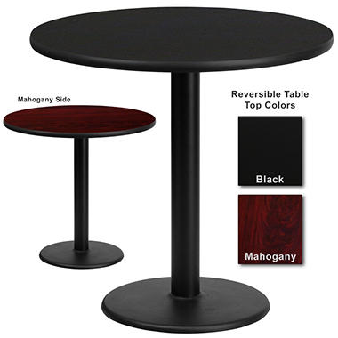Hospitality Table  Round - Black/Mahogany - 30