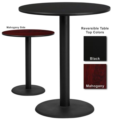 "Bar Height Hospitality Table  Round Base - Black/Mahogany - 36"" x 36"" - 1 Pack"