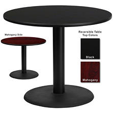 "Hospitality Table  Round - Black/Mahogany - 36"" x 36"" - 1 pk."