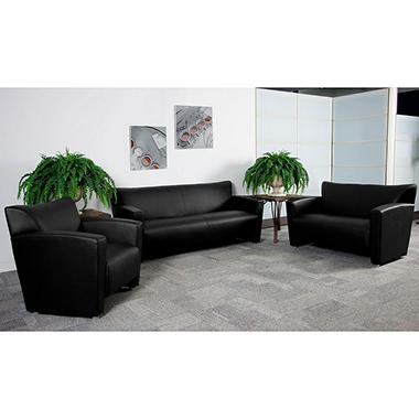 Flash Furniture Hercules Majesty Series Leather Love Seat, Black