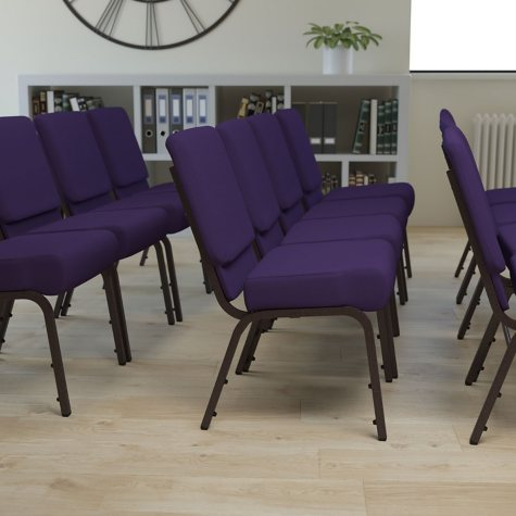Hercules Extra Wide Stacking Church Chair with Gold Vein Frame, Royal Purple