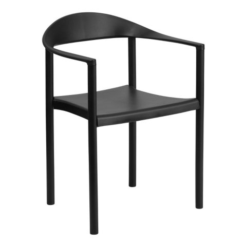 Flash Furniture Hercules Series Plastic Cafe Stack Chair Black