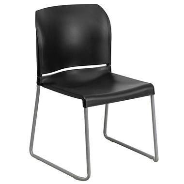 Flash Furniture Hercules Series Full Back Contoured Stack Chair with Sled Base - Black