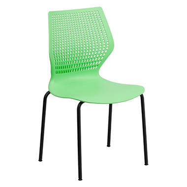 Flash Furniture Hercules Series Designer Stack Chair, Green - 20 Pack