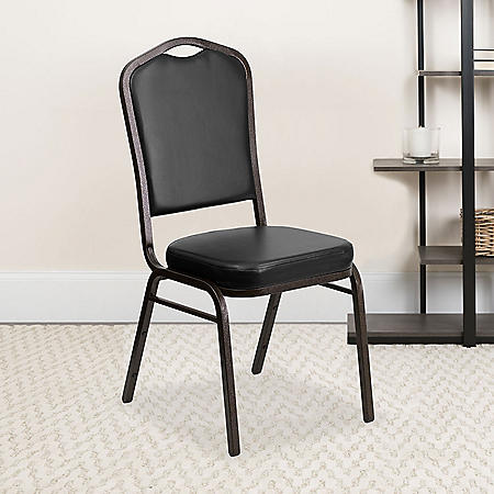 Flash Furniture Hercules Series Crown Back Vinyl Banquet Stack Chair Black