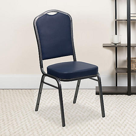 Flash Furniture Hercules Series Crown Back Vinyl Banquet Stack Chair Navy Blue