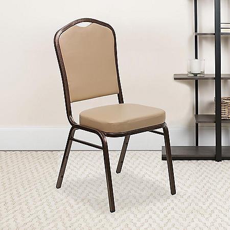 Flash Furniture Hercules Series Crown Back Vinyl Banquet Stack Chair Tan
