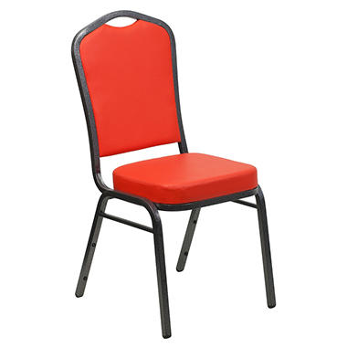 Flash Furniture - Hercules Series Crown Back Vinyl Banquet Stack Chair - Red