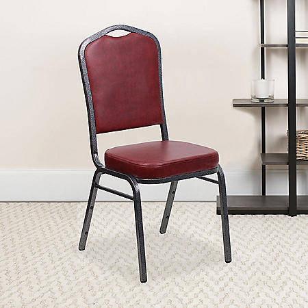 Flash Furniture Hercules Series Crown Back Vinyl Banquet Stack Chair Burgundy