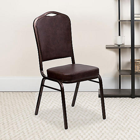 Flash Furniture Hercules Series Crown Back Banquet Stack Chair, Brown (Select Quantity)
