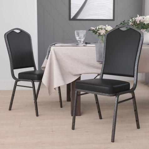 Flash Furniture Hercules Series Crown Back Vinyl Banquet Stack Chair, Black