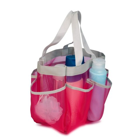 Honey-Can-Do Quick-Dry Shower Tote, Pink/Silver