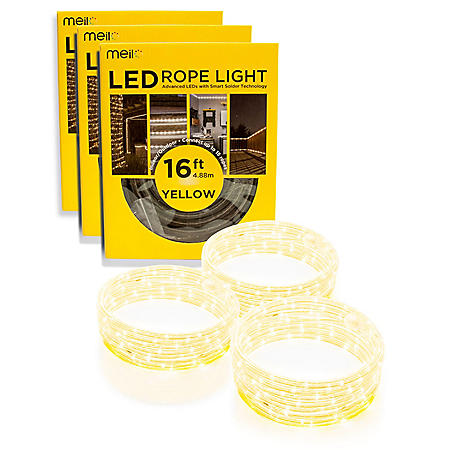 Meilo 16ft Bug Off LED Yellow Rope Light - Set of 3