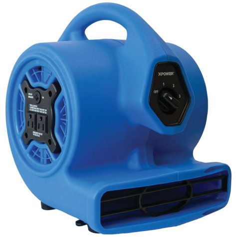 XPOWER P-100A 3-Speed Mini Air Mover/Floor Dryer/Utility Blower Fan w/ Built-In Power Outlets