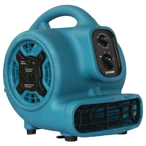 XPOWER P-230AT 800 CFM 3-Speed Mini Air Mover/Floor Dryer/Utility Blower Fan w/ Timer and Power Outlets