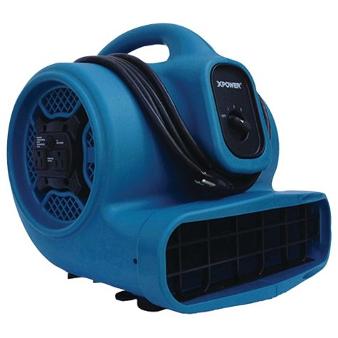 XPOWER X-400A 1600 CFM 3-Speed Commercial Air Mover/Carpet Dryer/Floor Blower Fan w/ Dual Outlets for Daisy Chain