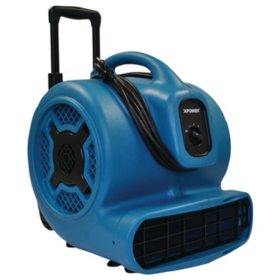 XPOWER X-830H 1-HP 3600 CFM 3-Speed Commercial Air Mover/Carpet Dryer/Floor Blower Fan w/ Telescopic Handle and Wheels