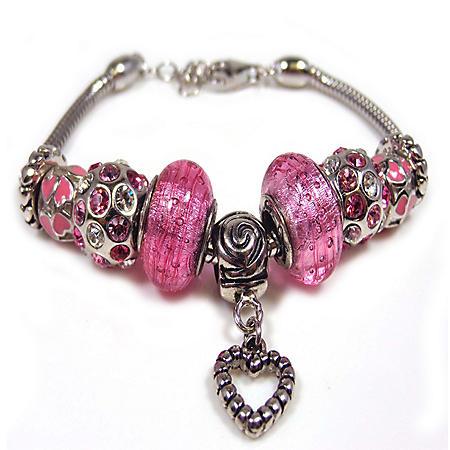 Pink Floral With Heart Bracelet