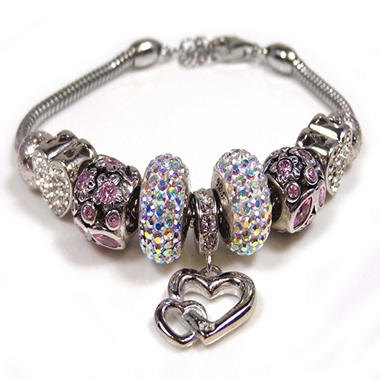 Pink Crystal with Heart Bracelet