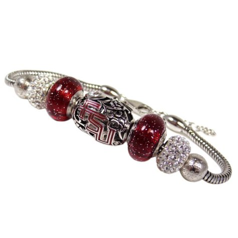 Sterling Silver Collegiate Bead Bracelet (Assorted Styles)
