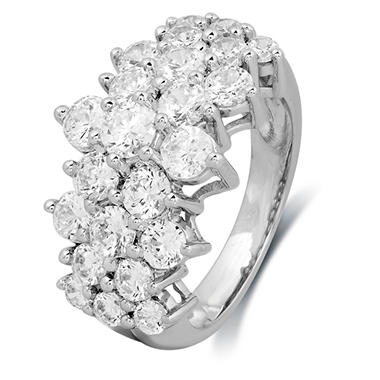 3.00 CT. T.W. Round-Cut Diamond Pyramid Fashion Ring in 14K White Gold (I, I1)