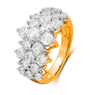 2.00 CT. T.W. Round-Cut Diamond Pyramid Fashion Ring in 14K  Yellow Gold (I, I1)