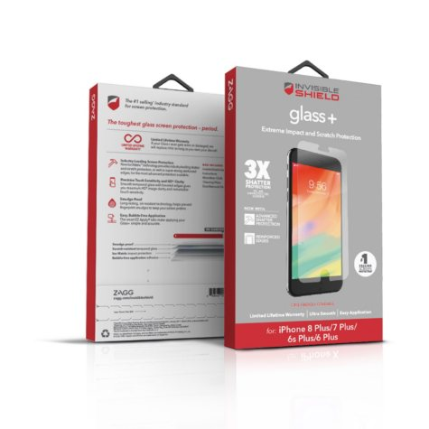 ZAGG InvisibleShield Glass Screen Protection for Apple iPhone 7 Plus and 8 Plus