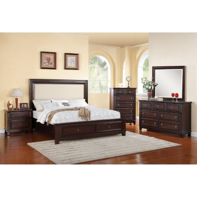 Bon Harland Bed With Upholstered Headboard Bedroom Set (Choose Size)