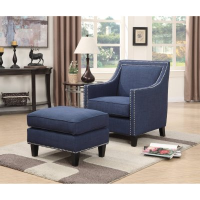 Emery Accent Chair U0026 Ottoman (Assorted Colors)