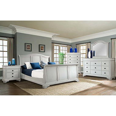 Conley 5 Piece King Sleigh Bedroom Set, White