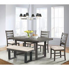 Sullivan Dining Table Side Chairs And Bench 6 Piece Set