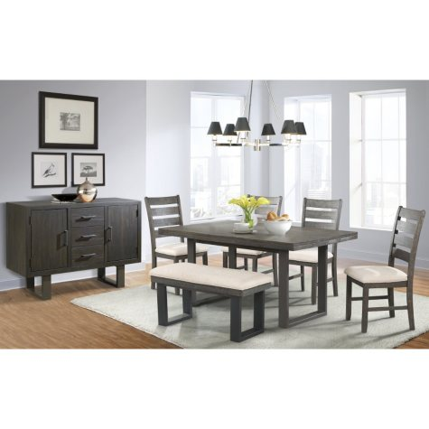 Sullivan Dining Table, Side Chairs, Bench and Server, 7-Piece Set