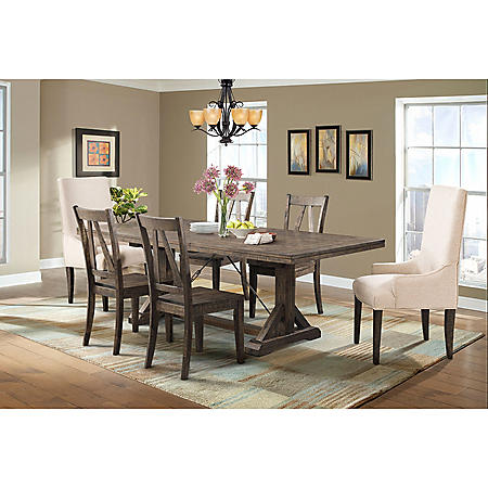 Flynn Dining Table, Side Chairs and Parson Chairs, 7-Piece Set