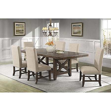 Francis Dining Table and Upholstered Side Chairs, 7-Piece Set