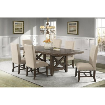 Francis Dining Table And Upholstered Side Chairs, 7 Piece Set