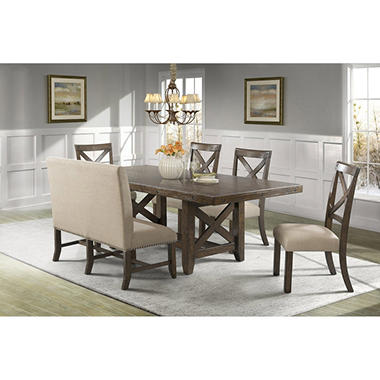 Francis Dining Table Side Chairs And Upholstered Bench 6 Piece Set
