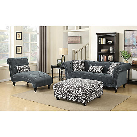 Twine Chaise with French Script Pillow - Slate