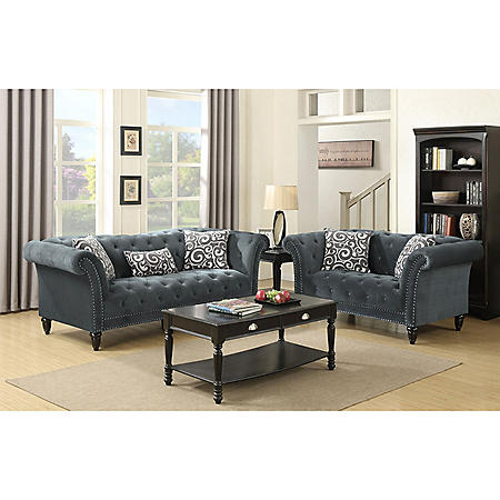 Twine Sofa with French Script Pillows - Slate