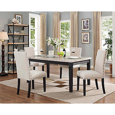 Bradley 5-Piece Dining Set, Table & 4 Upholstered Chairs