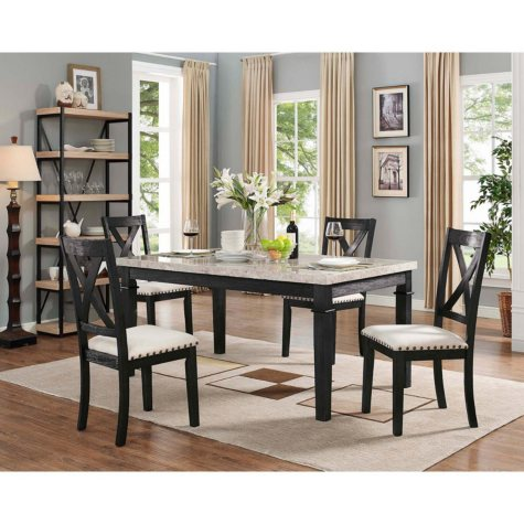 Bradley 5-Piece Dining Set, Table & 4 X-Back Side Chairs