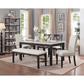 162aca09f28f Bradley 6-Piece Dining Set, Table, 2 Upholstered Side Chairs, 2 X-Back Side  Chairs & Bench - Sam's Club