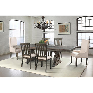 Stanford Dining Table, Side Chairs, Parson Chairs, 7 Piece Set