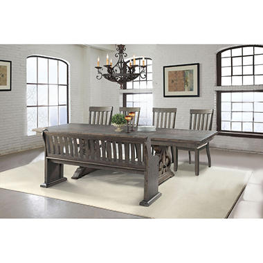 Stanford Dining Table Side Chairs And Pew Bench 6 Piece Set