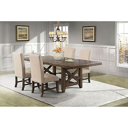 Francis Dining Table and Upholstered Side Chairs, 5-Piece Set