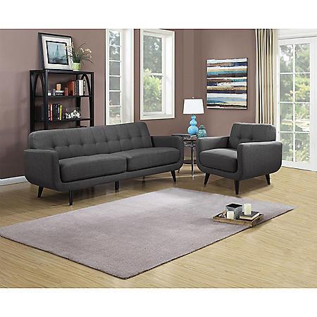 Hailey Sofa & Chair Set - Charcoal