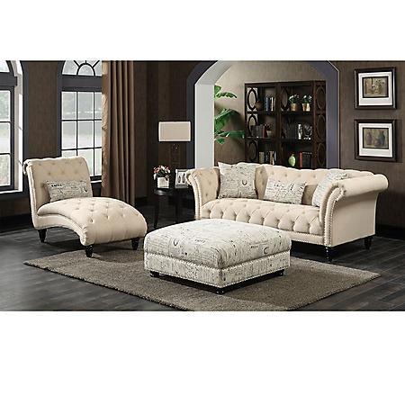 Twine 3-Piece Sofa, Chaise, Ottoman Set - Natural