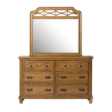 Mysteria Bay Dresser & Mirror Set, Honey