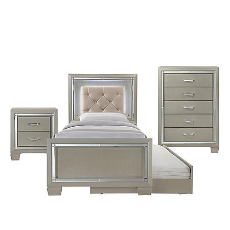 Glamour Youth Twin Platform with Trundle 3-Piece Bedroom Set (Assorted Sizes)