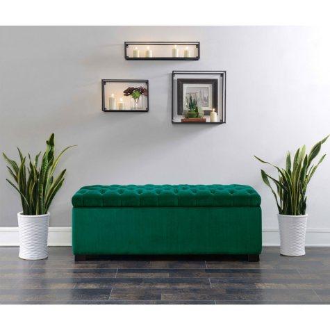 Carson Shoe Storage Bench - Emerald