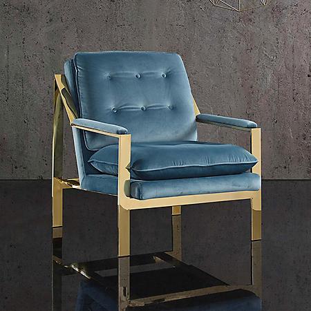 Tribeca Chrome Accent Chair - Marine Blue